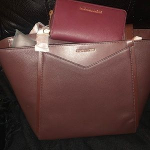 Michael Kors Large Leather Tote Wine Color